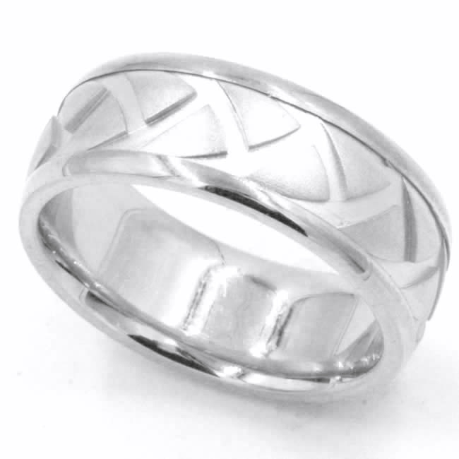 Item # 47897WE View 5 - White Gold Carved Wedding Ring