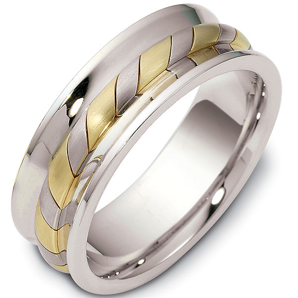 Item # 47902PE - Platinum and 18kt yellow gold contemporary, comfort fit, 7.5mm wide wedding band. The ring has a beautiful handcrafted rope style pattern in the center of the band that is a matte finish. The rest of the band has a polished finish. Different finishes may be selected or specified.