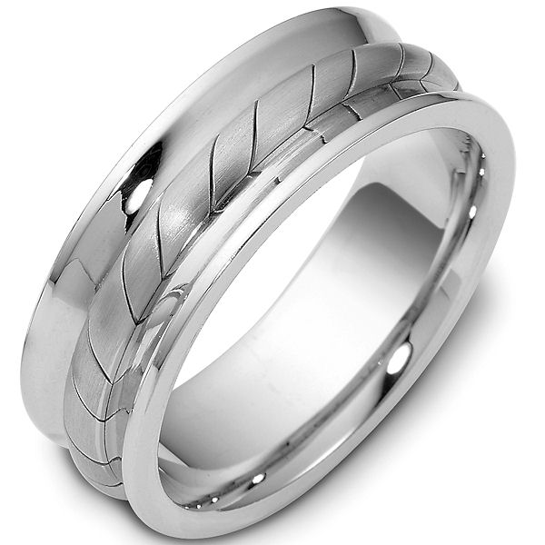 Item # 47902WE - 18kt White gold contemporary, comfort fit, 7.5mm wide wedding band. The ring has a beautiful handcrafted rope style pattern in the center of the band that is a matte finish. The rest of the band has a polished finish. Different finishes may be selected or specified.