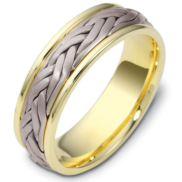 Item # 47923NE - 18kt Two-tone gold handcrafted, comfort fit, 7.0mm wide wedding band. The ring has a beautiful hand crafted braid in the center that has a matte finish. The edges are polished. Different finishes may be selected or specified.