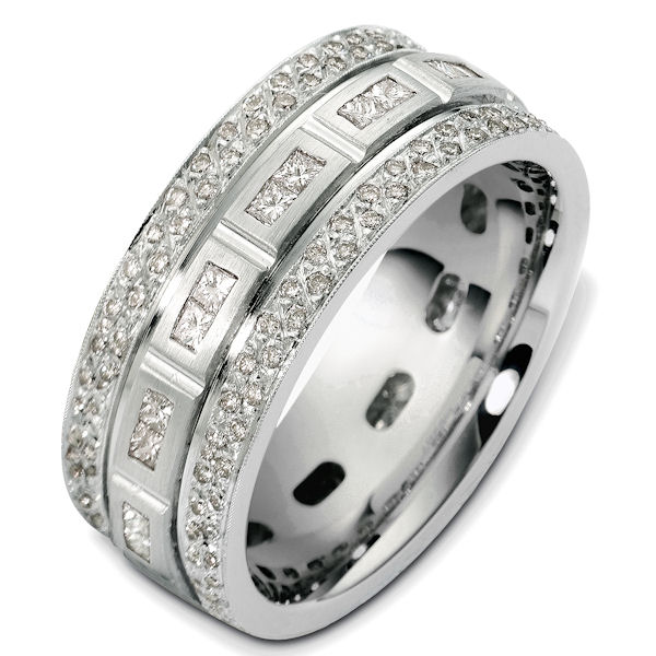 Item # 47965PP - Platinum diamond, comfort fit, 9.0mm wide wedding band. The ring has 1.51 ct tw diamonds, VS1-2 in clarity and G-H in color. There are about 26 princess cut diamonds, each measures 0.025 ct and about 57 round brilliant cut diamonds, each measures 0.015 ct. The diamonds go around the band. It is 9.0mm wide and comfort fit.