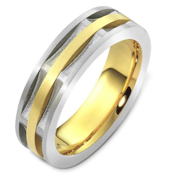 Item # 47997E - 18kt Two-tone gold contemporary, comfort fit, 6.5mm wide wedding band. The ring has a mix of matte and sandblast finish. In the grooves, the ring has a sandblast finish. The rest is matte. It is 6.5mm wide and comfort fit.