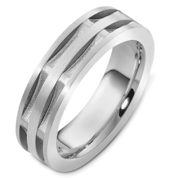 Item # 47997W - 14kt White gold contemporary, comfort fit, 6.5mm wide wedding band. The ring has a mix of matte and sandblast finish. In the grooves, the ring has a sandblast finish. The rest is matte. It is 6.5mm wide and comfort fit.