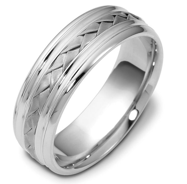 Item # 48031PP - Platinum handcrafted, comfort fit, 7.0mm wide wedding band. The ring has a beautiful hand crafted braid in the center that has a matte finish. The rest of the band is polished. Different finishes may be selected or specified.