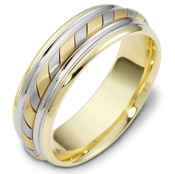 Item # 48033 - 14kt Two-tone gold handcrafted, comfort fit, 7.0mm wide wedding band. The ring has a beautiful hand crafted rope in the center that has a matte finish. The rest of the band has a polished finish. Different finishes may be selected or specified.