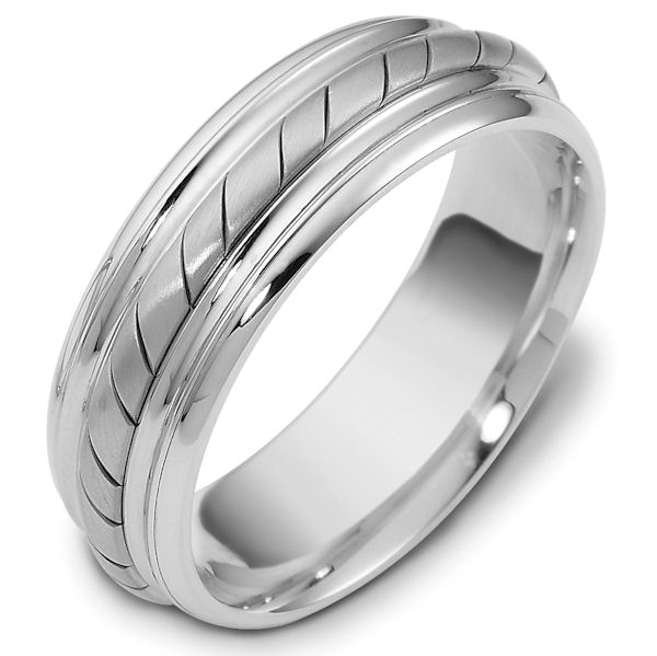 Item # 48033W - 14kt White gold handcrafted, comfort fit, 7.0mm wide wedding band. The ring has a beautiful hand crafted rope in the center that has a matte finish. The rest of the band has a polished finish. Different finishes may be selected or specified.