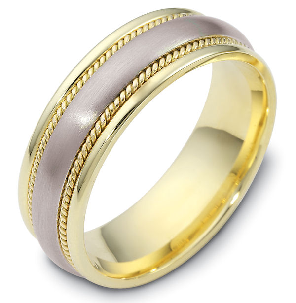 Item # 48036E - 18kt Two-tone gold classic, comfort fit, 7.0mm wide wedding band. The ring has a mix of classic and handcrafted ropes. The center has a matte finish and the rest of the band has a polished finish. Different finishes may be selected or specified.