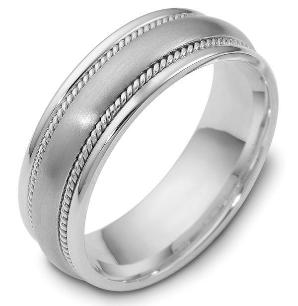 Item # 48036W - 14kt White gold classic, comfort fit, 7.0mm wide wedding band. The ring has a mix of classic and handcrafted ropes. The center has a matte finish and the rest of the band has a polished finish. Different finishes may be selected or specified.