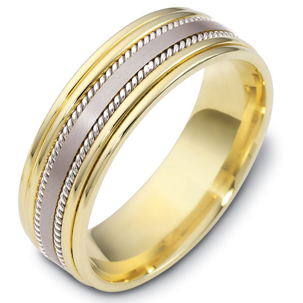 Item # 48038E - 18kt Two-tone gold classic, comfort fit, 7.0mm wide wedding band. The ring has a mix of handcrafted ropes and classic style. The center portion has a matte finish and the rest of the band has a polished finish. Different finishes may be selected or specified.