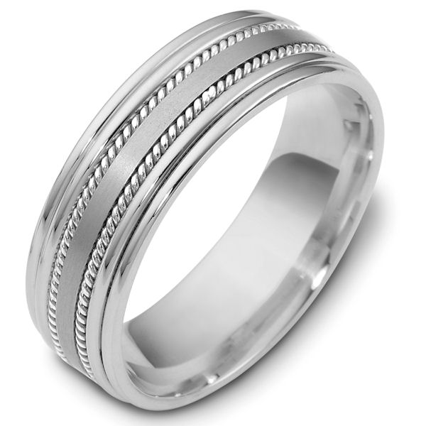 Item # 48038PP - Platinum classic, comfort fit, 7.0mm wide wedding band. The ring has a mix of handcrafted ropes and classic style. The center portion has a matte finish and the rest of the band has a polished finish. Different finishes may be selected or specified.