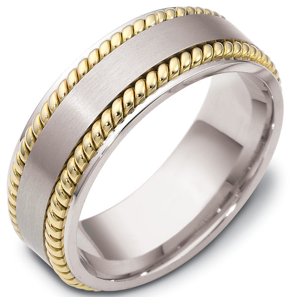 Item # 48039E - 18kt Two-tone gold classic, comfort fit, 8.0mm wide wedding band. The ring has a mix of hand crafted and classic styles. There are two ropes beauitfully handcrafted. The center of the ring has a matte finish and the rest of the ring has a polished finish. Different finishes may be selected or specified.