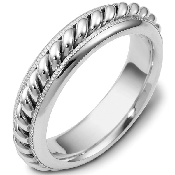 Item # 48040WE - 18kt White gold handcrafted, comfort fit, 6.0mm wide wedding band. There is one hand crafted rope in the center that has a polished finish. The whole ring is polished. Different finishes may be selected or specified.