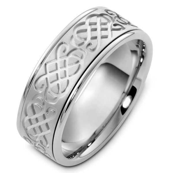 Item # 48052W - 14kt White gold celtic, comfort fit, 8.0mm wide wedding band. The celtic design is around the whole band and has a matte finish. The rest of the band is polished. It is 8.0mm wide and comfort fit.