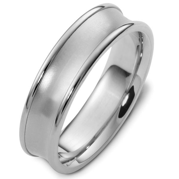 Item # 48079NWE - 18kt White gold classic, comfort fit, 6.0mm wide wedding band. The center of the ring is dipped inward and has a matte finish. The edges are polished. Different finishes may be selected or specified.