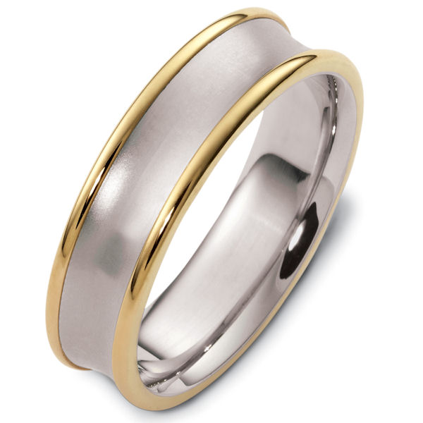 Item # 48079PE - Platinum and 18kt yellow gold classic, comfort fit, 6.0mm wide wedding band. The center of the ring is dipped inward and has a matte finish. The edges are polished. Different finishes may be selected or specified.