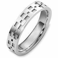 Item # 48089PD - Palladium Contemporary Carved Wedding Ring