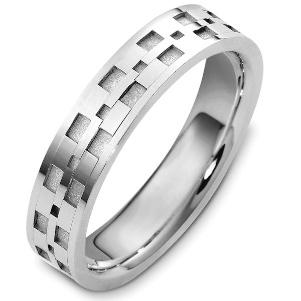 Item # 48089PP - Platinum contemporary, carved, comfort fit, 5.0mm wide wedding band. The ring has a mix of polished and a coarse sandblast finish. The grooves have the coarse sandblast finish and the rest of the band is polished. It is 5.0 mm wide and comfort fit.