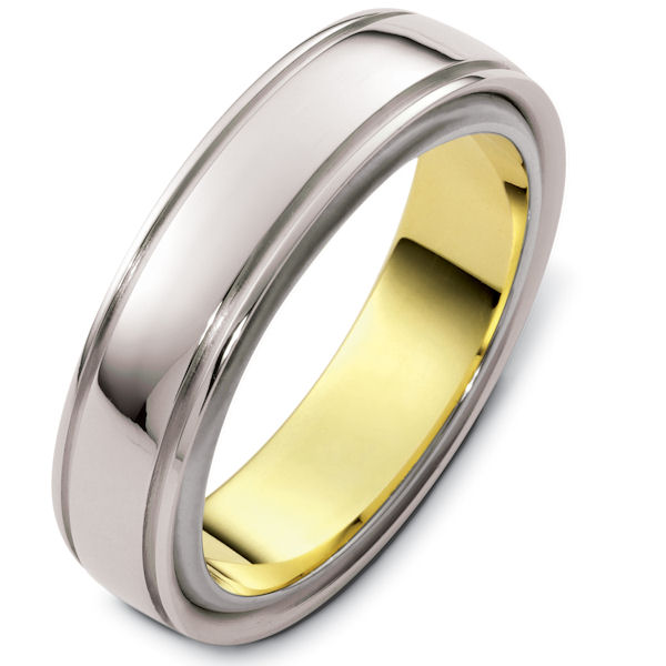 Item # 48115E - 18kt Two-tone gold classic, comfort fit, rotating, 6.0mm wide wedding band. The white gold portion is spinning and the ring has a polished finish. Different finishes may be selected or specified.