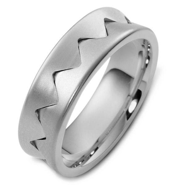Item # 48152W - 14kt White gold contemporary, comfort fit, 7.0mm wide wedding band. The ring has a matte finish. It is 7.0mm wide and comfort fit.