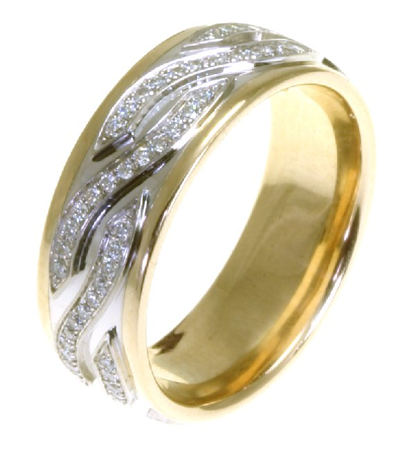 Item # 48164 - 14kt Two-tone gold diamond, comfort fit, 7.0mm wide wedding band. The diamonds are approximately 0.44 ct tw, VS1-2 in clarity and G-H in color. There are about 96 brilliant round cut diamonds and each measures about 0.005 ct. It is 7.0mm wide and comfort fit.