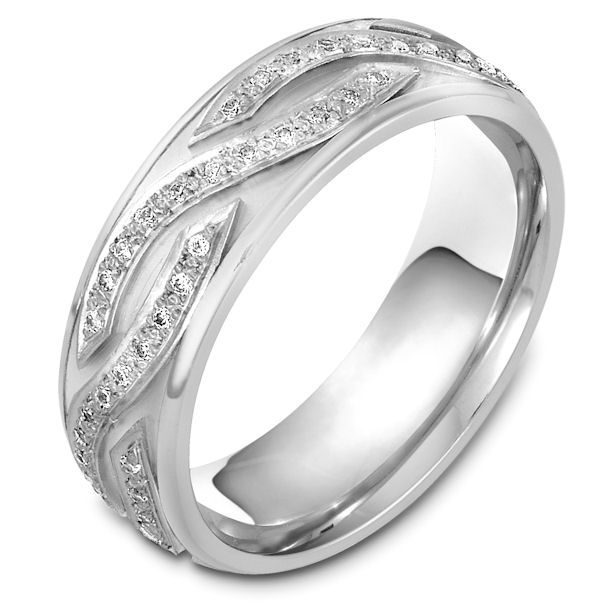 Item # 48164NW - 14kt White gold diamond, comfort fit, 7.0mm wide wedding band. The diamonds are approximately 0.44 ct tw, VS1-2 in clarity and G-H in color. There are about 96 brilliant round cut diamonds and each measures about 0.005 ct. It is 7.0mm wide and comfort fit.