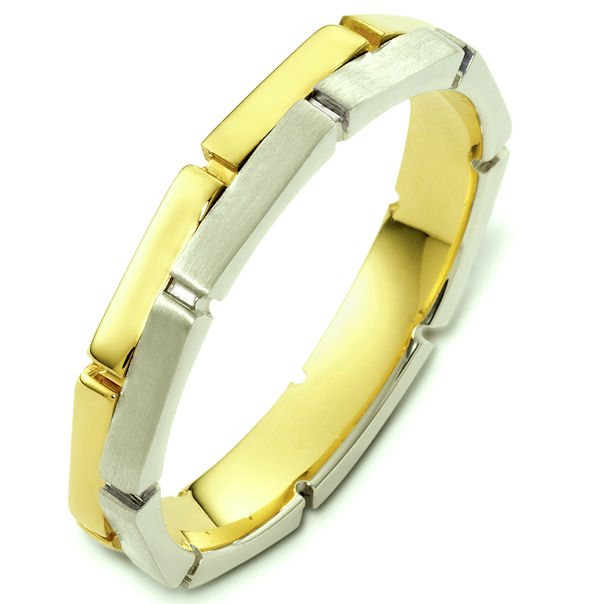 Item # 48173E - 18kt Two-tone gold contemporary, comfort fit, 4.0mm wide wedding band. The ring has one side polished and the other matte finish. It is 4.0mm wide and comfort fit.