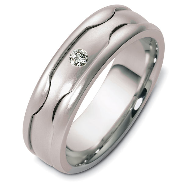 Item # 48178W - 14kt White gold diamond, comfort fit, 7.0mm wide wedding band. There is one brilliant round cut diamond in the center that is approximately 0.07 ct, VS1-2 in clarity and G-H in color. The band is matte finish, 7.0mm wide and comfort fit.