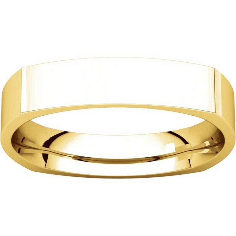 Item # 48214E View 3 - Gold Square Comfort Fit Men's Wide Wedding Ring