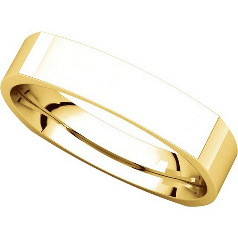 Item # 48214E View 4 - Gold Square Comfort Fit Men's Wide Wedding Ring
