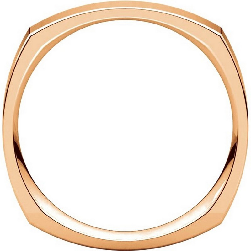 Item # 48214R View 2 - 14K Rose Gold Square Comfort Fit Men's Wide Wedding Ring