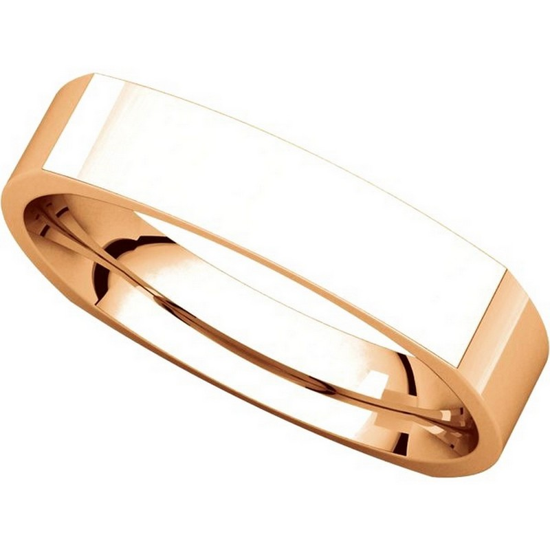 Item # 48214R View 4 - 14K Rose Gold Square Comfort Fit Men's Wide Wedding Ring