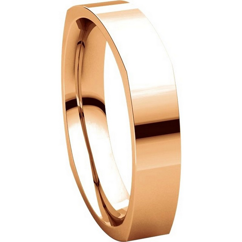 Item # 48214R View 5 - 14K Rose Gold Square Comfort Fit Men's Wide Wedding Ring