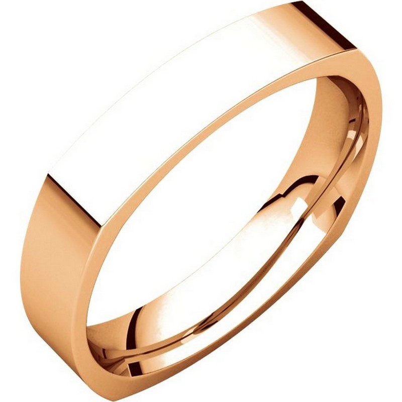Item # 48214R - 14K Roset gold square, comfort fit, 4.0 mm wide wedding band. The ring has a square shape and has a brushed finish. Different finishes may be selected.