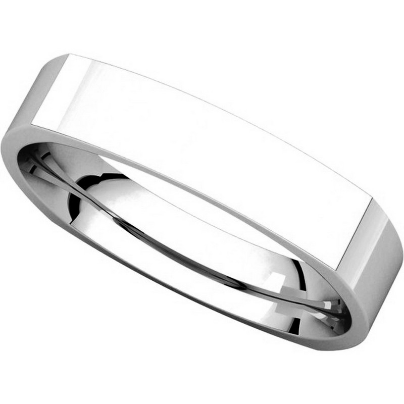 Item # 48214W View 4 - White Gold Square Comfort Fit Men's Wedding Ring