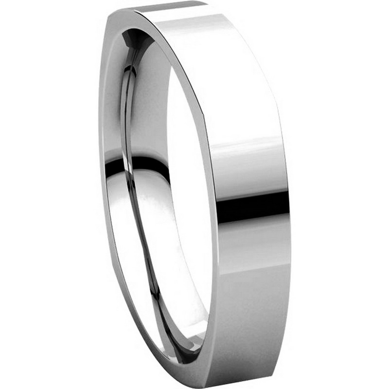 Item # 48214W View 5 - White Gold Square Comfort Fit Men's Wedding Ring