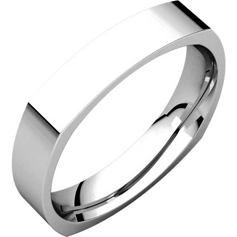 Item # 48214W - 14kt White gold square, comfort fit, 4.0mm wide wedding band. The ring has a square shape and has a brushed finish. Different finishes may be selected.