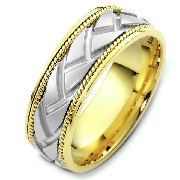Item # 48237 - 14kt Two-tone gold handcrafted, carved, comfort fit, 8.0mm wide wedding band. The center of the ring is carved and one hand crafted rope on each side of the carving. It is 8.0mm wide and comfort fit.
