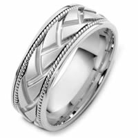 Item # 48237NW - 14 K White Gold Handcrafted Wedding Ring