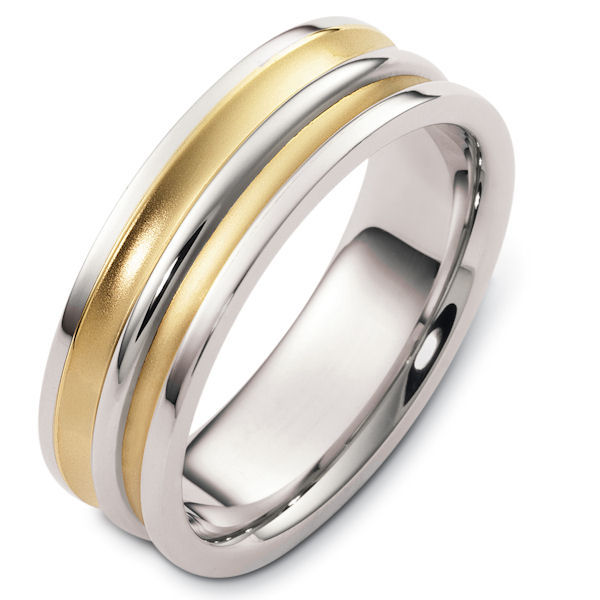 Item # 48254NPE - Platinum and 18kt yellow gold classic, comfort fit, 7.0mm wide wedding band. The grooves in the ring have a sandblast finish and the rest of the ring are polished. Different finishes may be selected or specified.