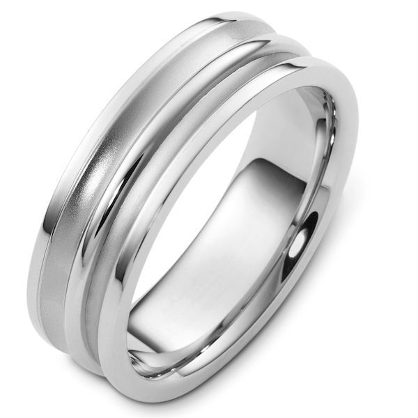 Item # 48254NW - 14kt White gold classic, comfort fit, 7.0mm wide wedding band. The grooves in the ring have a sandblast finish and the rest of the ring are polished. Different finishes may be selected or specified.