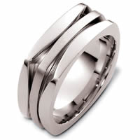 White Gold Contemporary Square Wedding Ring