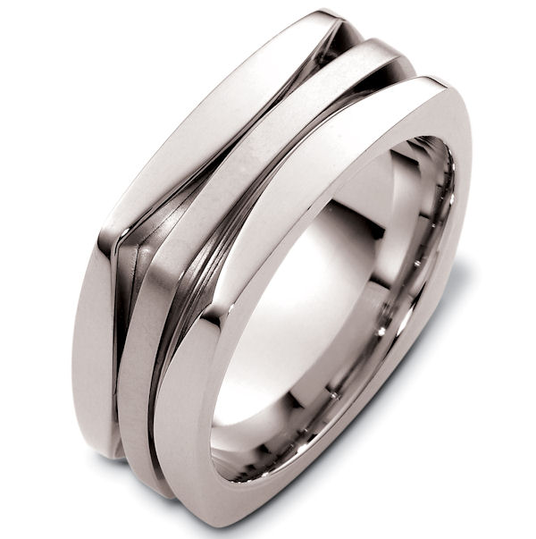 Item # 48259WE - 18kt White gold square, contemporary, comfort fit, 8.5mm wide wedding band. The ring has a square shape. It is 8.5mm wide, 2.25mm thick, and comfort fit.
