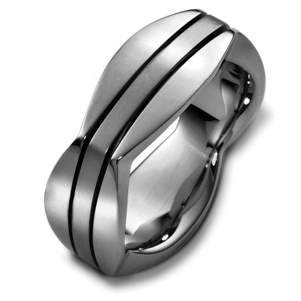 Item # 48261TI - Titanium contemporary, comfort fit, 8.5mm wide wedding band. The ring has a square shape and comes with a polished finish with bushed center. It is 8.5mm wide and comfort fit.