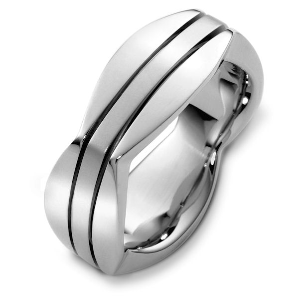 Item # 48261W - 14kt White gold contemporary, comfort fit, 8.5mm wide wedding band. The ring has a square shape and comes with a polished finish with bushed center. It is 8.5mm wide and comfort fit.