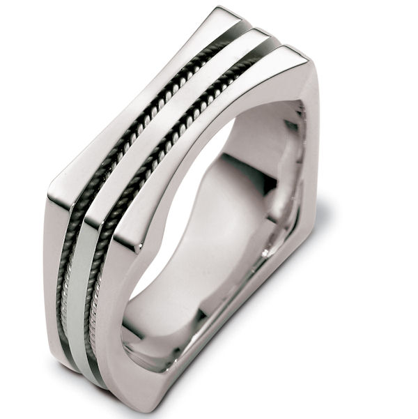 Item # 48262WE - 18kt White gold contemporary, comfort fit, 8.0mm wide wedding band. The ring is a square shape with two hand crafted ropes inserted inside the band. It is 8.0mm wide, polished finish, and comfort fit.