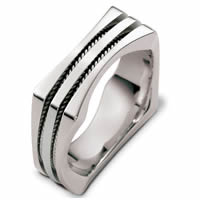Item # 48262WE - White Gold Contemporary Square Wedding Ring