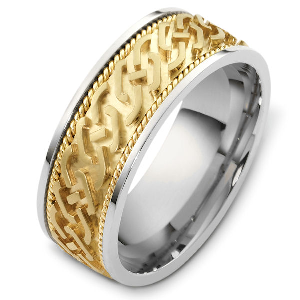 Item # 48263PE - Platinum and 18kt yellow gold carved, comfort fit, 8.0mm wide wedding band. The center of the ring is carved with a matte finish. There is one hand crafted rope on each side of the carving. It is 8.0mm wide and comfort fit.