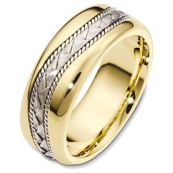 Item # 48420E - 18kt Two-tone gold handcrafted, comfort fit, 8.0mm wide wedding band. The center of the ring has a hand crafted braid and ropes all with a matte finish. The rest of the band is high polished. It is 8.0mm wide and comfort fit.