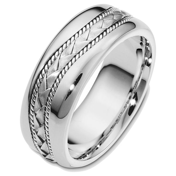 Item # 48420W - 14kt White gold handcrafted, comfort fit, 8.0mm wide wedding band. The center of the ring has a hand crafted braid and ropes all with a matte finish. The rest of the band is high polished. It is 8.0mm wide and comfort fit.