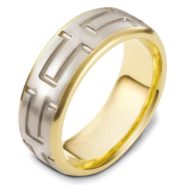 Item # 48444E - 18kt Two-tone gold carved, comfort fit, 8.0mm wide wedding band. The ring has a beautiful carved pattern around the whole band. The center portion is a matte finish and the edges are polished. It is 8.0mm wide and comfort fit.